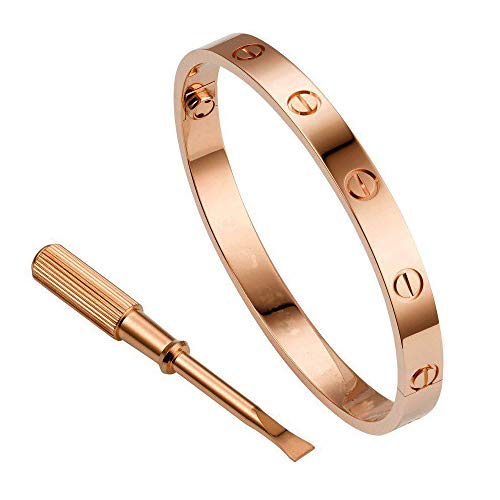 QUEEN JULIA Gold Bracelets for Women Couples Bracelets Titanium Steel Love Bracelet Pulseras de Mujer Valentines Wedding (Rose Gold 6.7