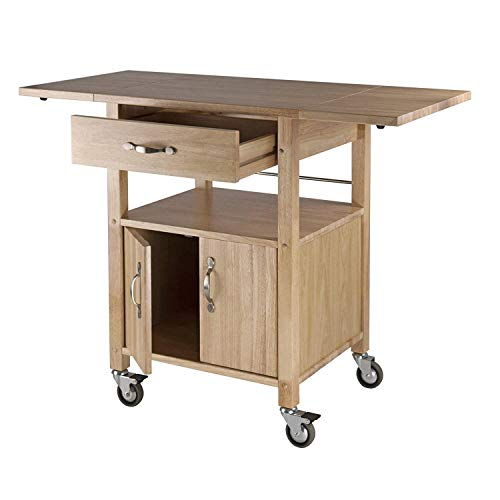 Kitchen Island Cart with Wheels Double Drop Leaf Top Storage Cabinet Drawer Rolling Utility Open Shelf Furniture Wood Serving Cart Table Home Office Bar Rack