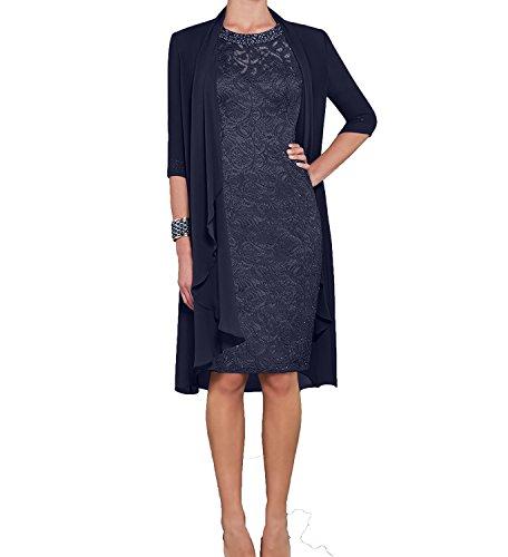 Damen Blau Brautmutterkleider Navy mit Blau Abendkleider U Charmant Langarm Etuikleider Bolero Dunkel Dunkel Ausschnitt qEpxdpwB0