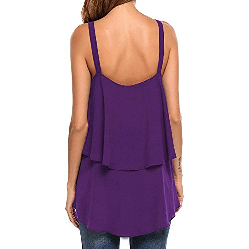 Dressings Allentato Viola Donna Vest Sezione a Vest Camicia Top scollo lunga con Backless maniche Colour Camicetta Adeshop Top Canotte Double Tank Casual senza Pure V Layer 4fxEdE1