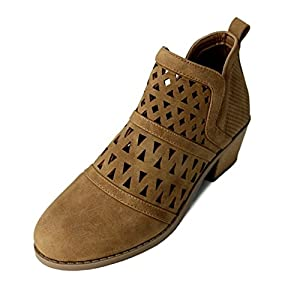 Best Camel Tan Comfy Faux Leather Closed Toe Slip On Low Flat Wedge Fashion Classic Ver Zapatos de Mujer Short Sexy Cowboy Boot Bootie Shoe Easter Basket Item For Sale Women Teen Girl (Size 7, Camel)