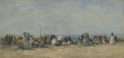 The High Quality Polyster Canvas Of Oil Painting 'Eugene Boudin - Beach Scene, Trouville,about 1860-70' ,size: 30x63 Inch / 76x161 Cm ,this Imitations Art DecorativePrints On Canvas Is Fit For Garage Gallery Art And Home Decoration And Gifts