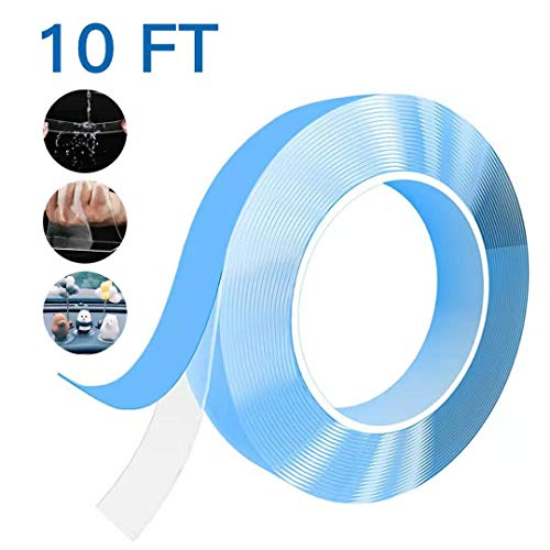 Nano Magic Tape 10FT,Double-Sided Gel Grip Tape Anti-Slip Washable Removable Reusable Sticky Grip Tape for Home Fixing Carpet Pictures (10FT) (Tape 10 Grip)