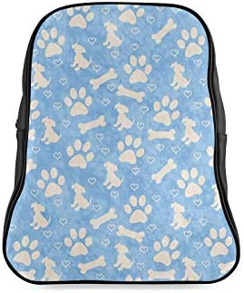 Blue Beige Dog Paw Prints Puppy Girls Bags For School Casual Travel Bag Bag For School Print Zipper Students Unisex Adult Teens Gift
