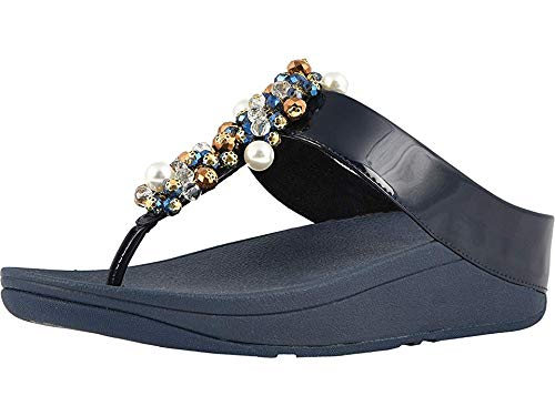 (FitFlop Women's Deco Toe Thong Sandals Midnight Navy 11 M US)