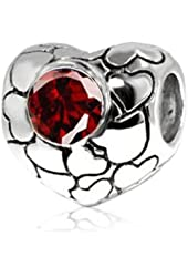Mother's Day Gift, Sterling Silver Love Hearts Bead Charm with Garnet Gemstone (January Birthstone)