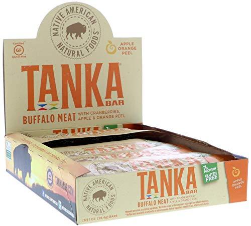Bison Pemmican Meat Bars with Buffalo & Cranberries by Tanka, Gluten Free, Beef Jerky Alternative, Apple Orange Peel, 1 Oz, Pack of 12