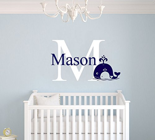 Personalized Boy Room Whale Name Color Wall Decal