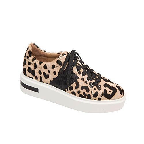 - Linea Paolo Kim | Streetwear Inspired Lace Up Platform Sneaker White/Black Leopard Print Hair Calf 5M