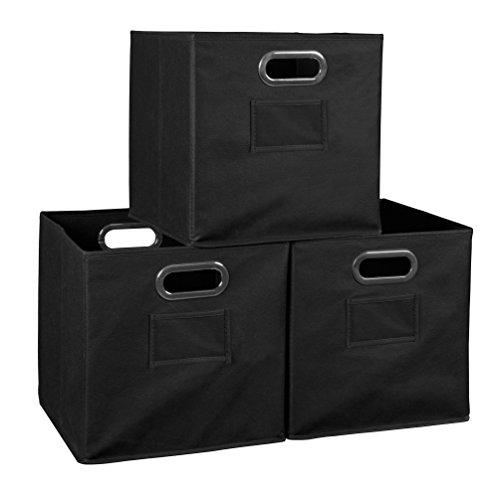 Niche Set of 3 Cubo Foldable Fabric Bins- Black