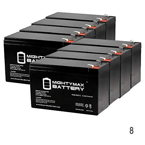 Altronix al125ule 12 V、9 Ah鉛酸バッテリー – 8パック – Mighty Maxバッテリーブランド製品