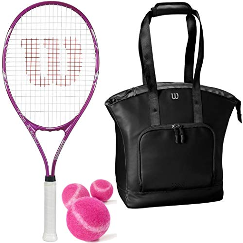 (Wilson Triumph Pre-Strung Oversized Tennis Racquet Set or Kit Bundled with a Black Women's Tennis Tote and a Can of Pink Tennis Balls (Perfect for Women/Girls/Juniors))