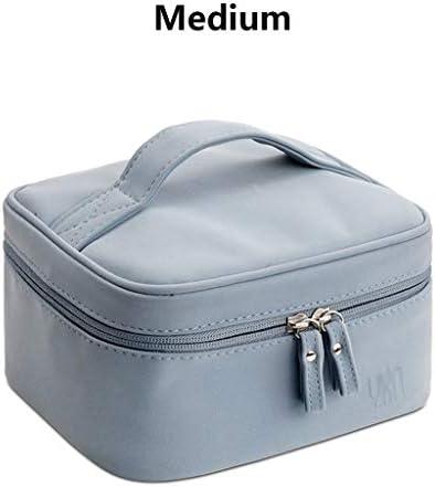 化粧品収納ボックス 家庭用大容量多層分類化粧品収納ボックス羊柄素材太いハンドルダブルジッパー大中小サイズブルーグレー DSJSP (Color : Blue, Size : M)
