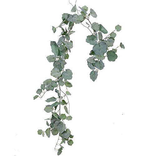 - LASPERAL Artificial Hanging Leaves Vines, 5.5 Ft Faux Begonia Leaves Twigs Silk Plant Leaves Garland String in Green for Indoor/Outdoor Wedding Decor Party Supplies