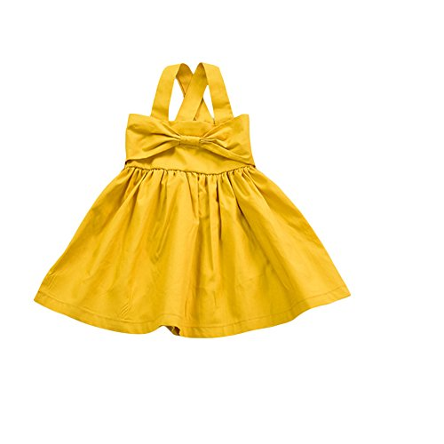YOHA Baby Girls Cotton Soft Bow Jumper Dress Suspender Skirts Pinafore Dress Yellow,100