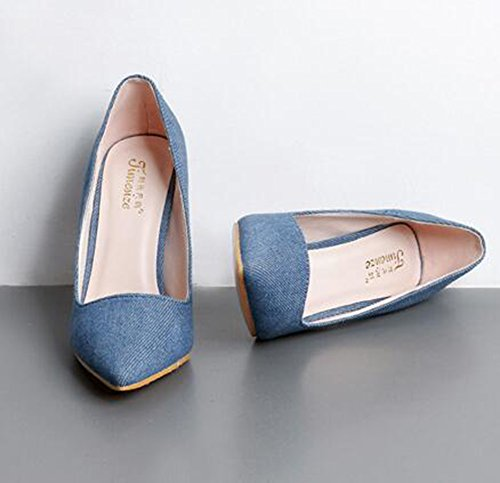 Easemax Mujeres Elegant Frosted Pointed Toee Low Top High Stiletto Bombas De Tacón Zapatos Azul