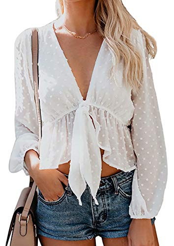 Women's Solid Open Front Tie Knot Crop Top Long Sleeve Deep V Neck Ruffle Chiffon Short Blouse Shirt Size L(US 4) (White)