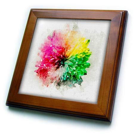 (3dRose Anne Marie Baugh - Impressionist Mixed Media Art - Image of Watercolor Rainbow Mum Flower Art - 8x8 Framed Tile (ft_318688_1))