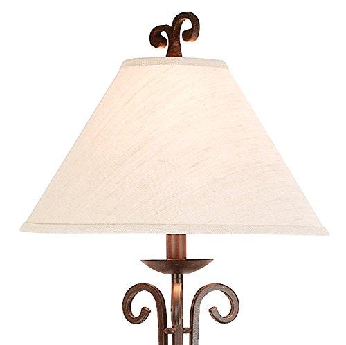 Iron Scroll Wooden Tray Floor Lamp