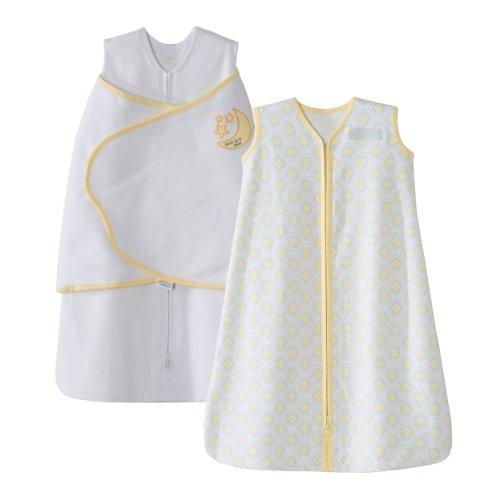 HALO-SleepSack-100-Cotton-Swaddle-and-Wearable-Blanket-Gift-Set-WhiteGrayYellow-Diamond-2-Piece