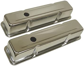 Chrome w// 327 Logo 1958-86 Compatible//Replacement for Chevy Small Block 327 Tall Steel Valve Covers
