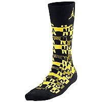 Jordan Air Sneaker Crew Socks Black/Vibrant Yellow 631714-017 Size Medium (6-8)