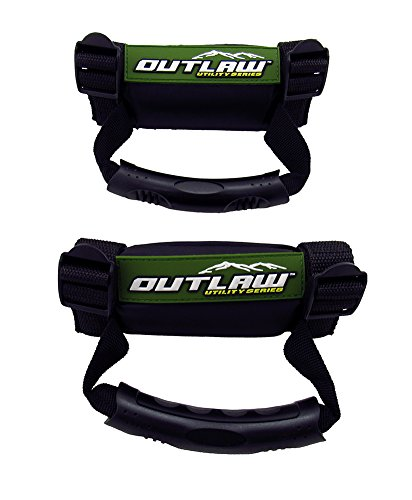 - Outlaw Utility Jeep ATV & UTV Hand Grips - Roll Cage Grab Bar Handles - 2 Pack Roll Bar Grab Handle Hand Holds - Adjustable and Durable - 1 Year Warranty - Polaris Honda Yamaha Kawasaki UTV's