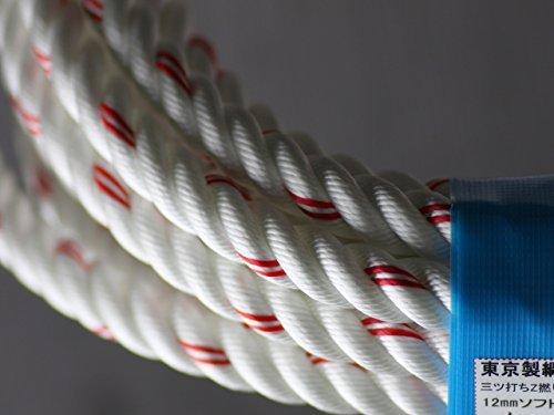 東京製綱 ナイロンレンジャーロープ M打 白 三つ打ち 直径12mm 30m