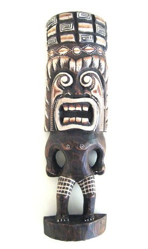 Tiki God Statue African Mask Wall Hanging For Fortune And Luck Polynesian, LARGE 16