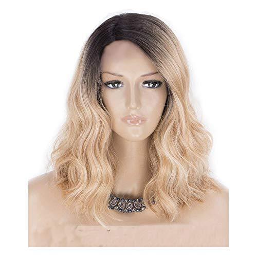 JPJ(TM) ❤️Curly Wig❤️Women Sexy Charming Short Seamless Rose Hair Net Front Wig Hair Infant Hair Brazilian Leibo Wig 38cm (Gold) - Seamless Diamond Net