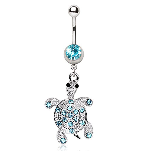 Pierced Owl Dangling Turtle with Aqua Gem Belly Button Ring in 316L Stainless Steel with CZ Crystal Accents