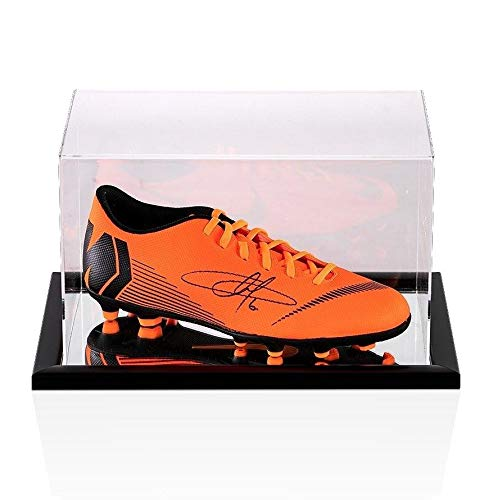 Eden Hazard Signed Football Boot Orange Nike Mercurial In Acrylic Display Ca Autographed Soccer Cleats