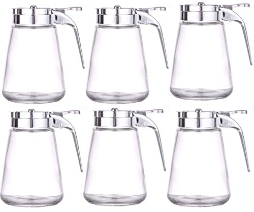 Set of 6 Honey/Cream/Sugar/Syrup Glass Dispensers with Retracting Spout Restaurant Pancake House Style with 10 oz.Capacity (6 pack)