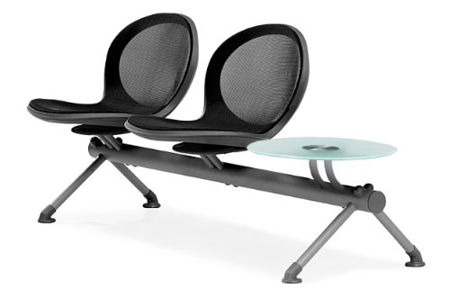 - OFM NB-3G-BLACK Net Series Beam Seating with 2 Chairs and Single Table, Black