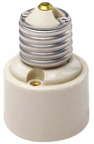 Leviton 2005 001-0-000 1-Piece Socket Adapter, 660 W, 250 V, Incandescent, Medium to Medium Base, Medium, White ()