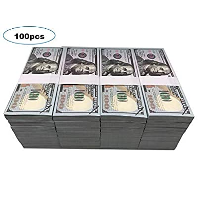 Motion Picture Money Prop Money Full Print 2 Side $100 Dollar Bills Copy Money Play Money Realistic Money Stacks for Movie, Birthday Party, TV: Toys & Games