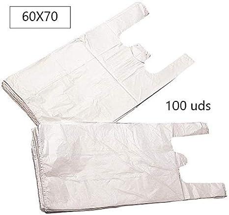 EUROXANTY® Bolsas de Plástico Tipo Camiseta | Alta resistencia | Reutilizables y Reciclables | Material Polietileno de Alta Densidad | Con Asas | Apta para Alimentos (Blanco, 60 x 70-100 uds)