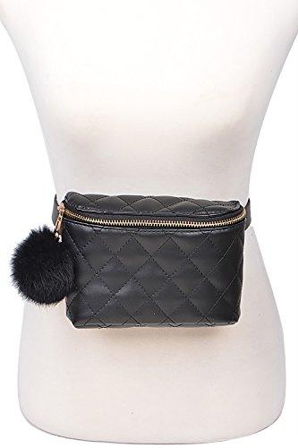 Womens Qualited Fanny Pack Belt Bags Pompom Detail Waist Bags PB7127 (Black)