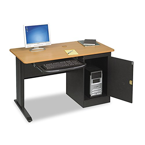 Balt LX 48 Single Workstation, 48 Inch Wide, Locking CPU Holder, Teak, - Single Carrel Study
