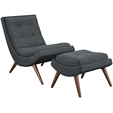 Modway Ramp Fabric Lounge Chair Set Twin Gray