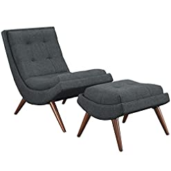 Farmhouse Accent Chairs Modway Ramp Fabric Upholstered Lounge and Ottoman 2-Piece Set in Gray farmhouse accent chairs