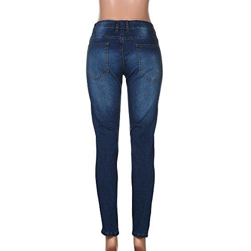 Uomo Denudati Da Fit Blu Zip Pantaloni Ginli Uomo Elasticizzati Skinny Denim Scuro Jeans Con Strappati Slim RIa1qzU