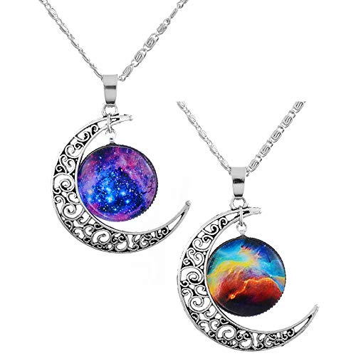 MJartoria Best Friends Necklaces Moon Engraved Friendship...