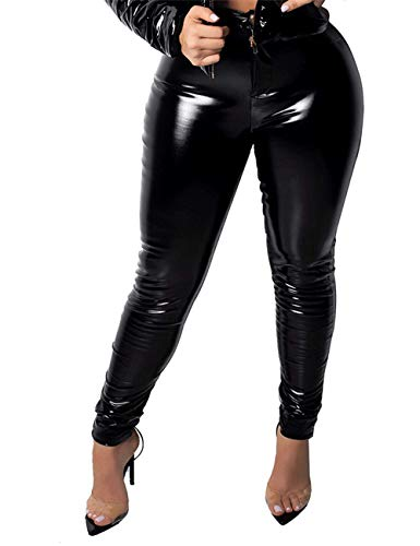 ASexya Women Sexy Legging Bodycon High Waist Skinny Leather Coated Long Pants Zipper Button Fleece Lined Black