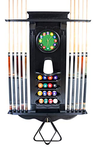 Iszy Billiards - Cue Rack Only 10 Pool Cue - Billiard Stick Wall Rack W/Clock Chose Mahogany, Black or Dark Oak Finish (Black)
