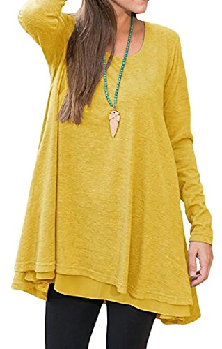 Casual Top Long Dress Shirt Cromoncent Women's Yellow Sleeve T Flared Solid 61gU1
