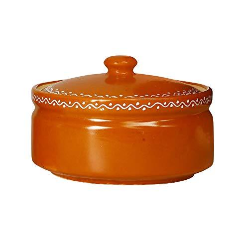 Caffeine Ceramic Handmade Brown Terracotta Serving Donga Casserole with lid  Set of 1