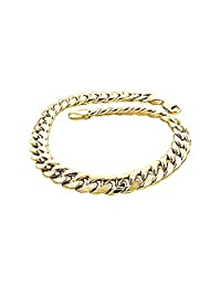 """IcedTime 14K Yellow Gold 8mm Wide Hollow Miami Cuban Link Chain 24""""-30"""" long Necklace Lobster Claw Clasp"""
