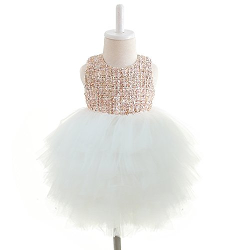 Baby Girl Dress Luxurious Soft Tulle Tweed Holiday Formal Dresses(16-24months(100),White) - Soft Tweed