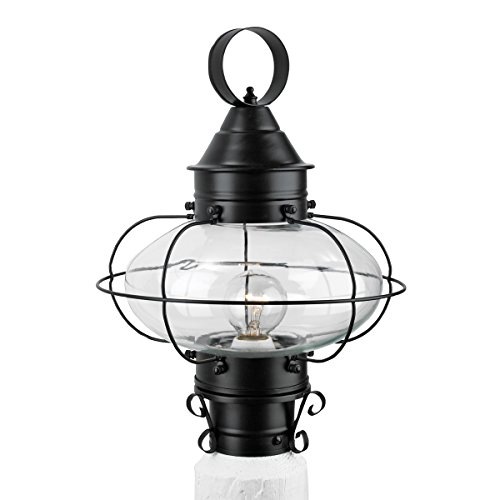 (NORWELL 1321-BL-CL Cottage Onion Post Lamp, Medium, Black Finish)